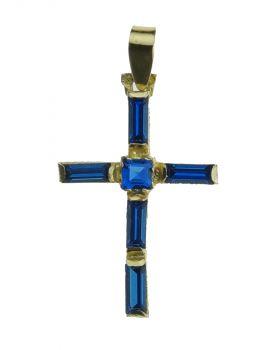 18 karaats gouden kruishanger ingelegd met saffieren