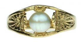 14 karaats gouden Vintage meisjes ring met parel