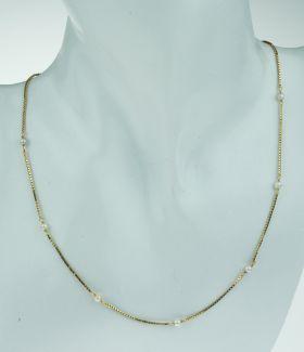 14 karaats gouden Venetiaanse dames ketting met parels