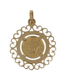 18 karaats gouden hanger met 1 dollar USA 1853