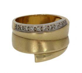 18 karaats gouden design ring met 10 diamanten