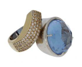 Luxe 14 karaats gouden bicolor ring topaas zirkonia