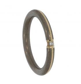 14 karaats gouden met edelstalen aanschuif diamant ring