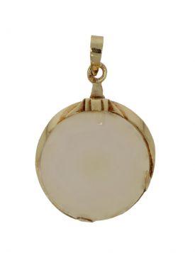 14 karaats gouden retro ketting hanger facetgeslepen witte Agaat