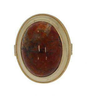14 karaats gouden klassieke ring met cabochon Agaat