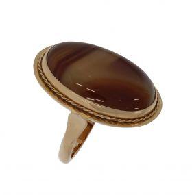 Robuuste 14 karaats gouden Vintage ring Agaat