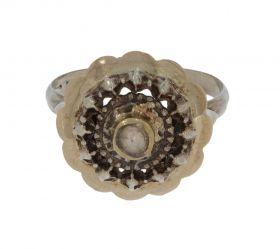 Antieke gouden met zilveren ring roosdiamant