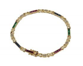 18 karaats gouden armband diamanten robijn saffier smaragd