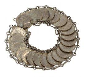 Antiek zilveren armband gemaakt van 25 Wilhelmina dubbeltjes