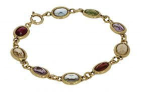 18 karaats gouden kinderarmband met kleurstenen