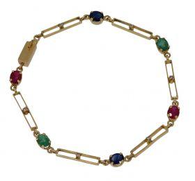 14 karaats gouden armband diamant saffier smaragd robijn