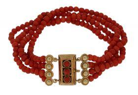 4-rijige bloedkoraal dames armband aan 14 karaats gouden slot