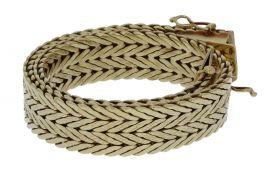 Fraai bewerkte 14 karaats gouden dames armband - stevig model -
