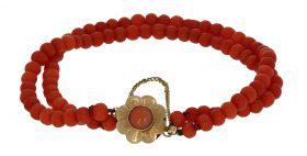 2-slags antieke bloedkoraal armband met gouden slot