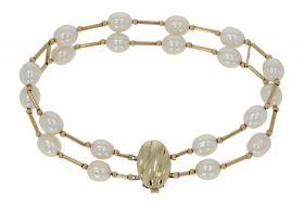 Parel armband met 14 karaats gouden slot en applicaties