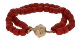 2-strengs antieke bloedkoraal kaasjes armband gouden slot