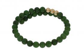 Jade Nefriet armband met 14 karaats gouden kralen