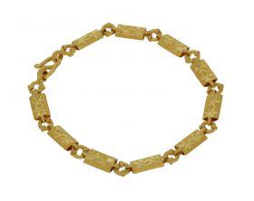 22 karaats gouden armband met fraai bewerkte schakels
