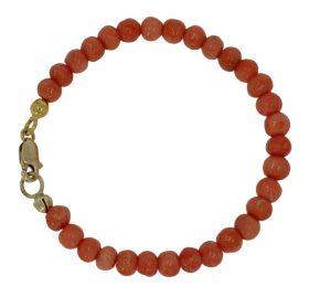 Bloedkoraal baby armband met 14 karaats gouden slot
