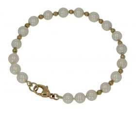 Akoya parel dames / kinder armband met gouden bolletjes en sluiting