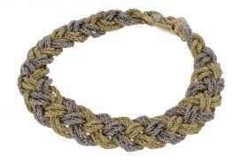 Sierlijke 14 karaats gouden bicolor koordschakel armband