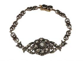 Antiek gouden en zilveren armband volgezet met roosgeslepen diamanten