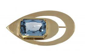 14 karaats gouden handgemaakte broche Topaas Art Deco