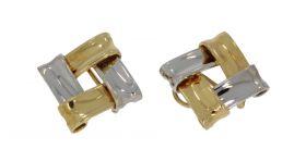 18 karaats gouden bicolor dames design oorbellen