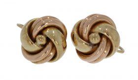 14 karaats bicolor gouden oorschroeven knoopmodel