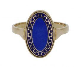 14 karaats gouden klassieke ring met blauw emaille