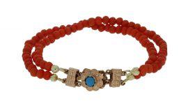 Bloedkoraal kinder armband met gouden Turkoois sluiting