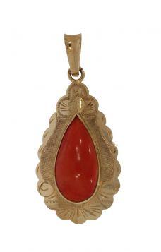14 karaats gouden bewerkte hanger met bloedkoraal cabochon
