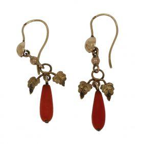 Antiek set 14 karaats gouden bloedkoraal oorbellen met blaadje