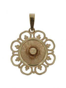 14 karaats gouden hanger met ajourbewerkte bloemversiering