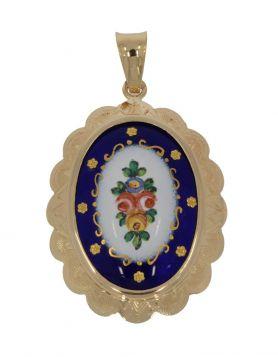 Ovale 14 karaats gouden ketting hanger met emaille bloemen
