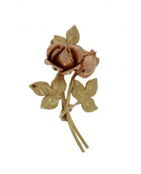 14 karaats geelgouden broche met rosegouden bloemknoppen
