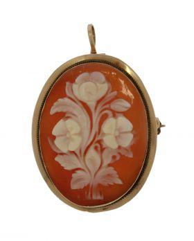 18 karaats gouden schelpcamee hanger broche bloem