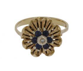 14 karaats gouden Vintage bloem ring 6 saffieren en diamant