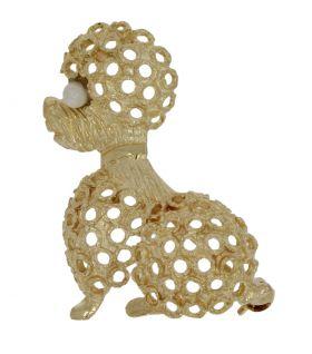 14 karaats gouden ajourbewerkte poedel broche met parel