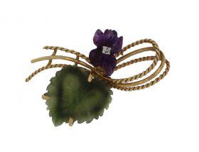14 karaats gouden bloembroche diamant Jade Nefriet en Amethist