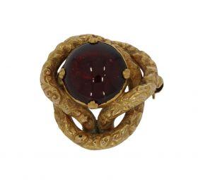 Antieke 14 karaats gouden broche met granaat ca. 1880