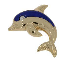 14 karaats gouden dolfijn broche diamant en Lapis Lazuli