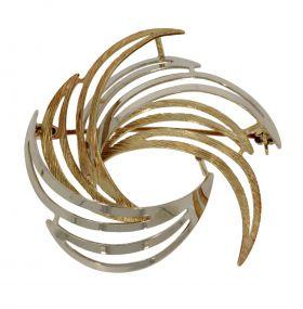14 karaats gouden bicolor broche veermotief