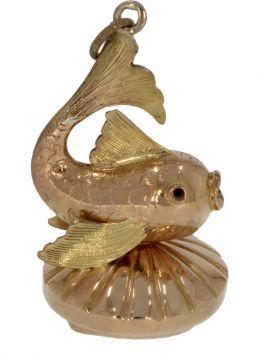 14 karaats gouden cachet zakhorloge vis met rookkwarts