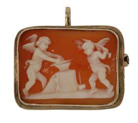 Antieke 14 karaats gouden hanger broche camee Griekse mythologie
