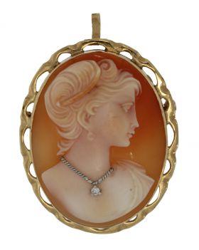 Fraaie 14 karaats gouden camee hanger broche met diamanten ketting