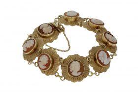 14 karaats gouden Vintage armband met 8 Cameeën