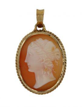 14 karaats gouden retro ketting hanger camee vrouwenportret