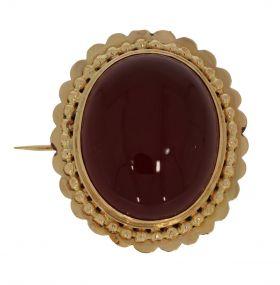 Grote 18 karaats gouden antieke broche Carneool