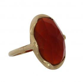 Klassieke 14 karaats gouden Retro ring facetgeslepen Carneool
